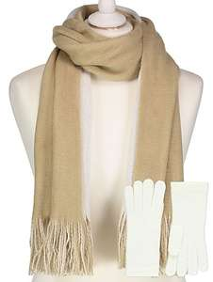 Supersoft reversible oversize scarf & gloves £4.  @ asdageorge