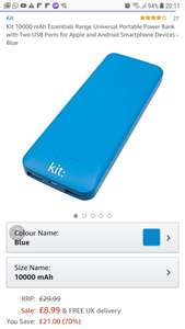 Kit Essentials 10,000mah Powerbank Blue - £8.99 Delivered - Sold and Despatched by Hale Communications via Amazon