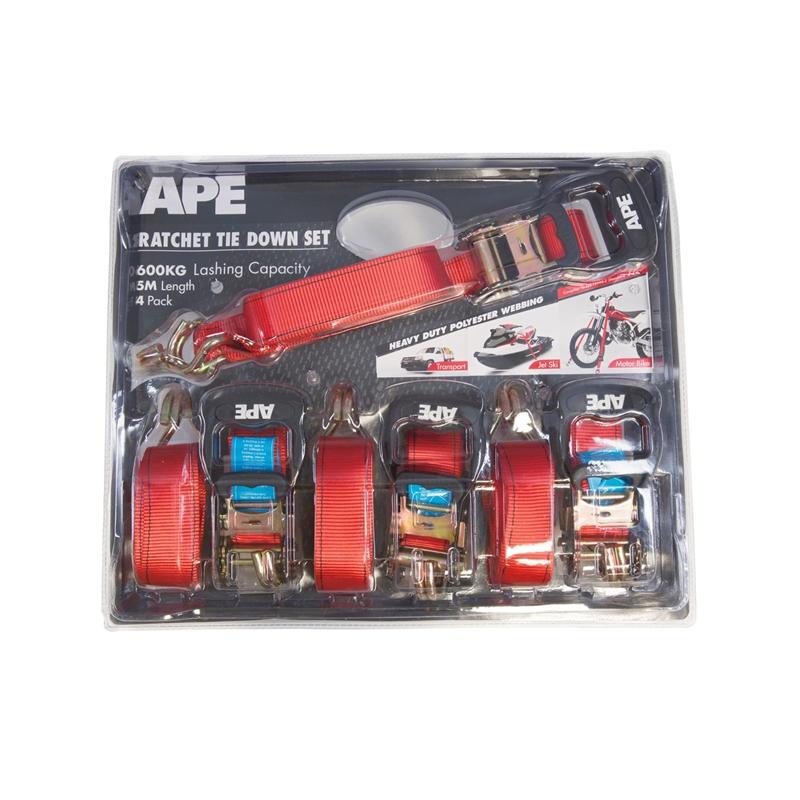APE Ratchet Tie Down Set 4 Pack 600KG 5M £7 @ Hombase instore were £29