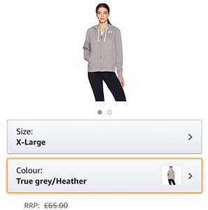 Under Armour Women's Favorite Fleece Full Zip Jacket-True grey/Heather,X-Large - £15.08 Prime / £19.83 non-Prime