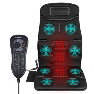 Naipo Vibrating Massager Car Seat Massage Cushion Vibration Pad Cover for Full Back Thigh with Heat Function and 8 Motor Vibrations 4 Modes 3 Speed for Car Home Office (Thickened Type) £49.99 (With £10 Discount) @ Naipo, Fulfilled By Amazon