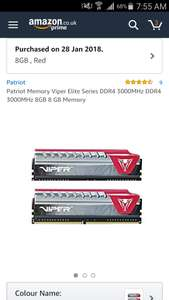 Viper Elite Series DDR4 8GB (2×4gb) 3000Mhz @ Amazon now over £5 cheaper (temp oos)