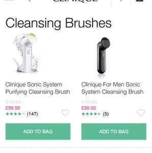 Half price on Clinique Sonic System purifying cleansing face brush while stocks last £39.50 at Clinque