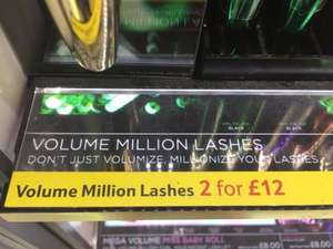 L'Oréal Million Lashes Mascara 2 for £12 at Tesco instore
