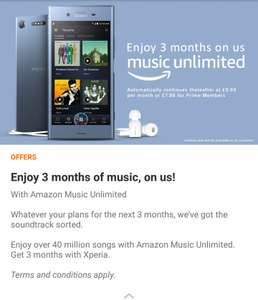 Amazon Music Unlimited - 3 Months Free with Sony Xperia Lounge