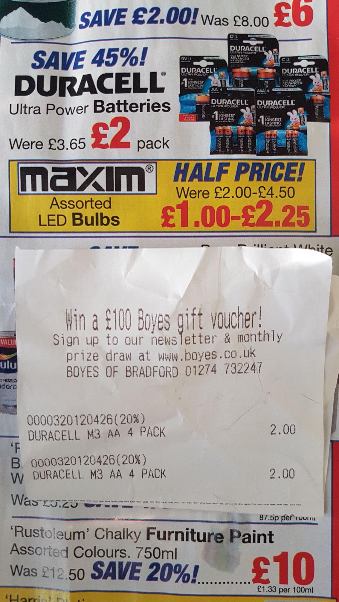 Duracell longest lasting battery range - £2 @ Boyes instore