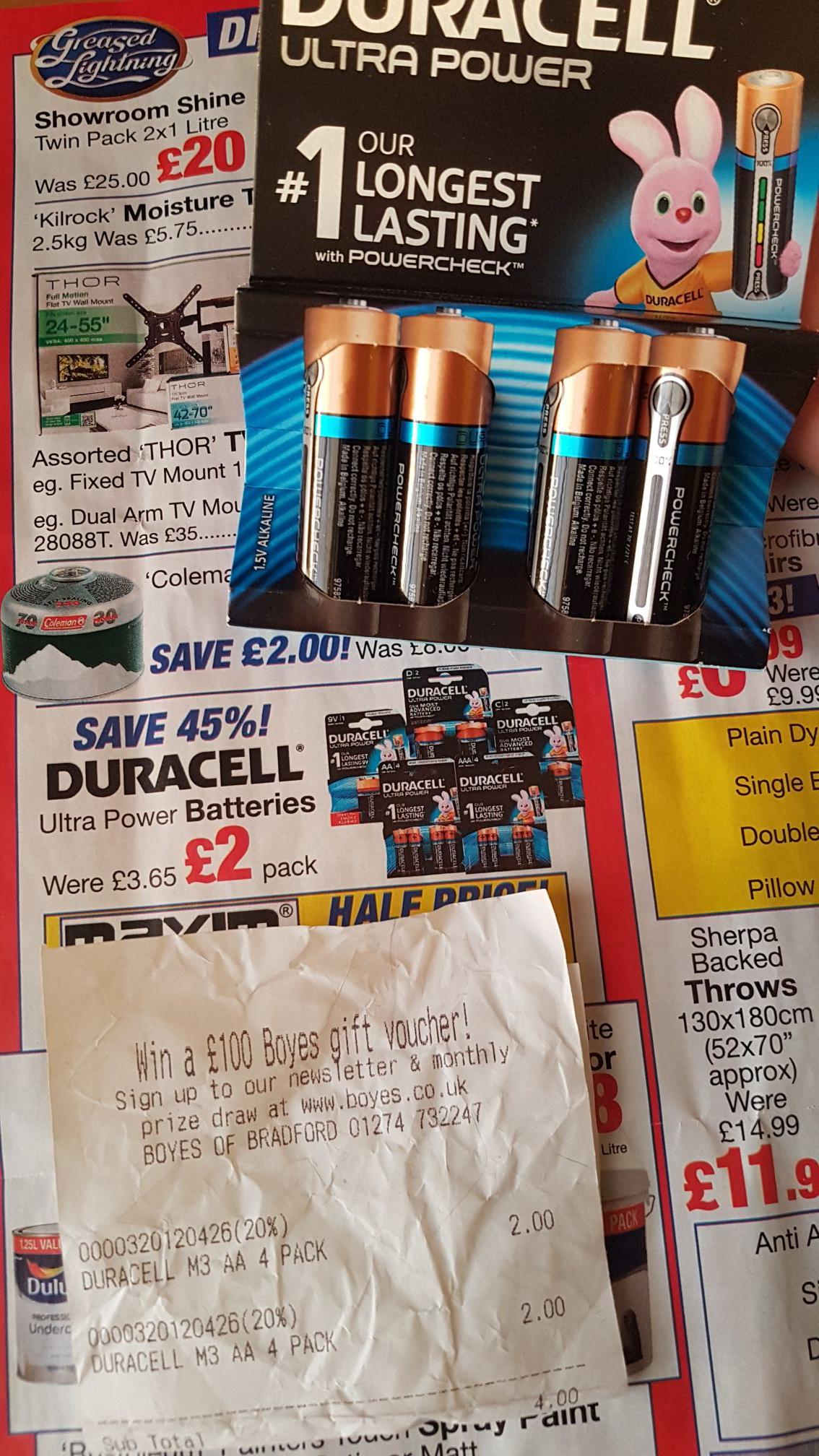 Duracell longest lasting battery range £2 instore @ Boyes
