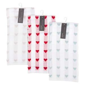 Loveheart Tea Towels, In Grey, Duck Egg Or Red Heart Design, £2 Each, In Store @ Poundworld