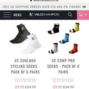 6 pair of cycling socks for only £9.95 @ Velochampion