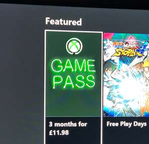 3 Month Xbox Game Pass £11.98 on XB Dashboard