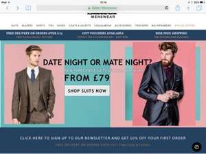 Three piece suits from £79 + Get 10% Off Code with newsletter sign up (£71.10) and free alterations + Free C+C at Slaters (Free Del wys £50)
