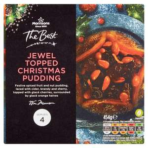 Jewel topped christmas pudding only 50p online @ Morrisons