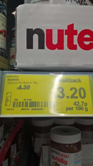 Asda Nutella £3.20 for a 750g jar