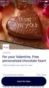 Free Personalised Chocolate heart at Thornton's(5th-11th February) @ O2 Priority