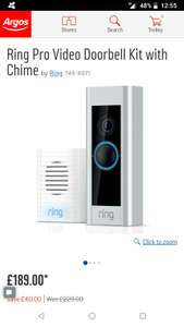 Ring Pro Video Doorbell Kit with Chime £189 @ Argos