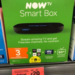Now TV Smart Box with Entertainment 3 months pass - £20 @ Sainsbury's - Basingstoke