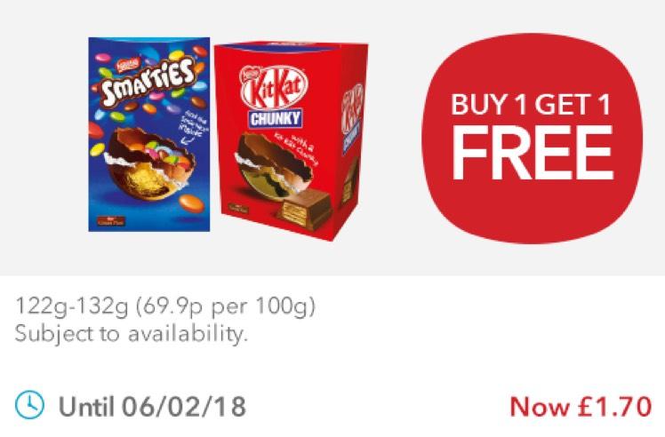 Nestle Smarties/Kit Kat Chunky Medium Egg BOGOF £1.40 @ Co-op