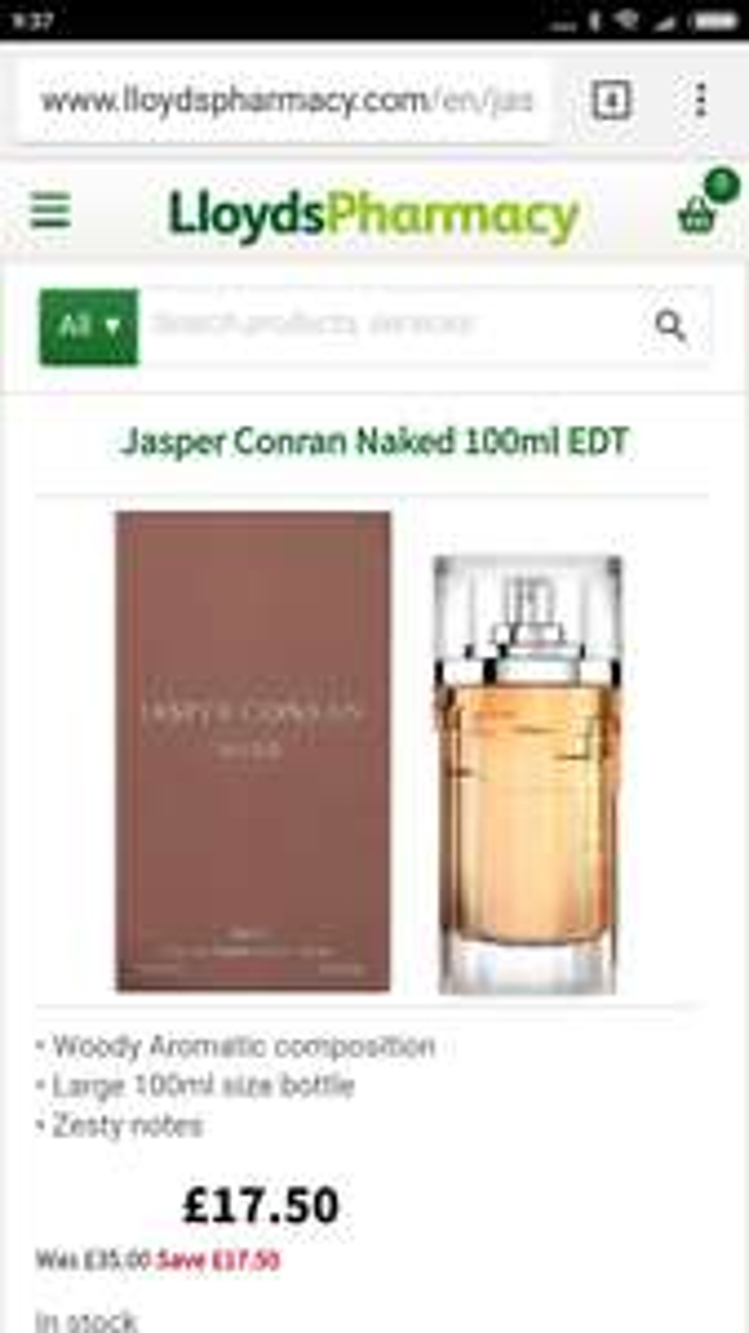 Jasper Conran £17.50 @ Lloyds pharmacy - Free c&c