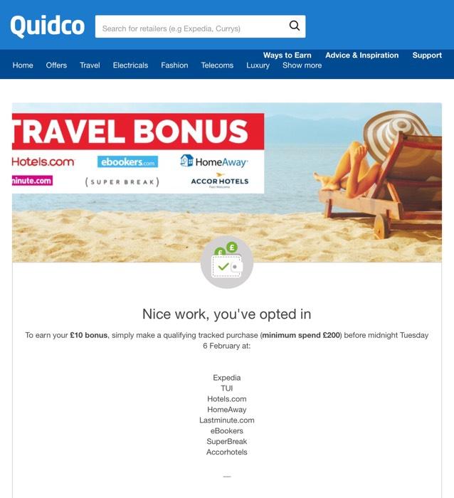 £10 Additional Quidco Travel Bonus with £200+ spend