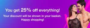 25% off on everything at Lovehoney, lingeries, toys