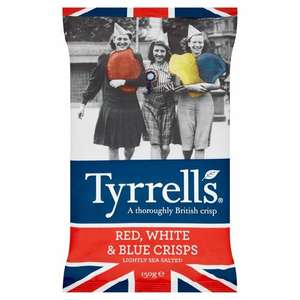 Tyrrells Red, White & Blue Crisps 150g for 75p in-store at Home Bargains
