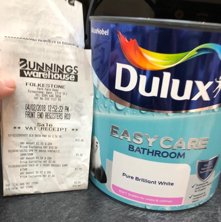 Dulux 2.5l bathroom paint scanning at £12 @ Bunnings - Folkestone