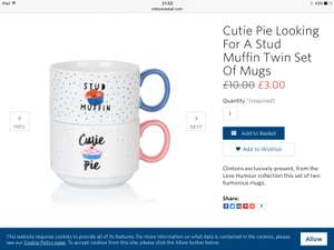 Now £3 from £10 Cutie Pie looking for a stud muffin twin set of mugs @ Clintons (plus £3.49 P&P)