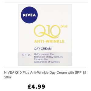Was £10 now £3.99 Nivea Q10 plus Anti wrinkle day cream with SPF15 50ml (Free C&C) @ Lloyd's Pharmacy