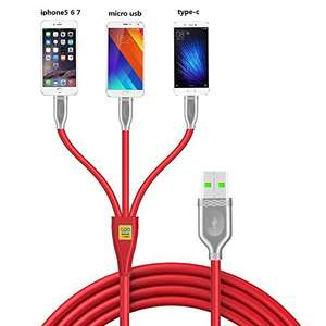 Multi Charging USB Cable - 3 in 1 USB - Lightning Cable, Type C, Micro USB -  £3.96 (Prime) / £7.95 (non Prime)Sold by morecoo and Fulfilled by Amazon