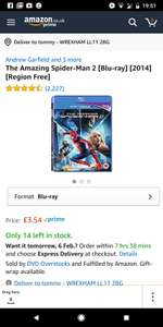 Amazing Spider-man 2 on Blu-ray £3.54 (Prime) / £5.53 (non Prime) at Amazon