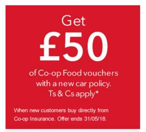 £50 COOP food voucher for taking up COOP car insurance. Members only.