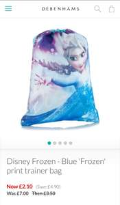 Disney Frozen trainer bag £2.10 delivered with code @ Debenhams