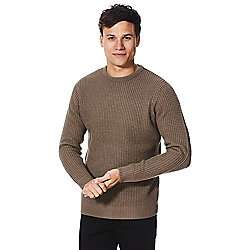 Mens brown OR navy OR grey waffle knit jumper plenty of sizes Was £16 now £5 @ tesco direct