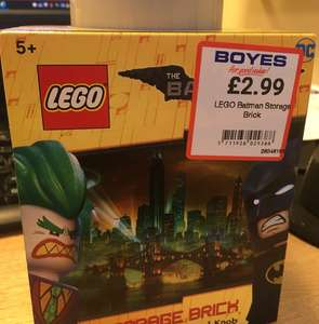 Lego Storage Brick (1 Knob, Batman Design) £2.99 @ Boyes