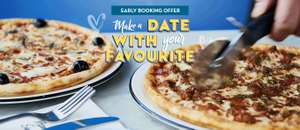 Free bottle of prosecco or 4 peronis / 6 soft drinks when you book 2 course Valentines meal and drink from £16.95 stacks with gift card offer @ Pizza Express