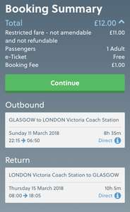GLASGOW TO LONDON £12 inc Booking Fee - Multiple Dates - NATIONAL EXPRESS