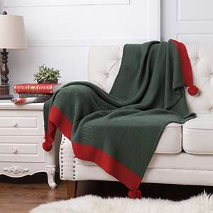 Knitted Throw Blanket Green/Red Bed - Love the Pom Poms £11.99  (Prime) / £16.74 (non Prime)  Sold by Bedsure Direct and Fulfilled by Amazon.