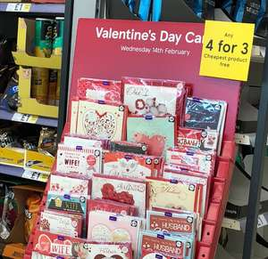 Valentines Cards 4 for 3 at Tesco instore