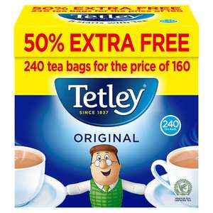 Tetley Original Tea Bags 160s 50% Extra Free 750g 240 for £3 at Iceland