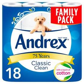 Andrex Family pack classic clean 18 toilet rolls £6 @ asda online