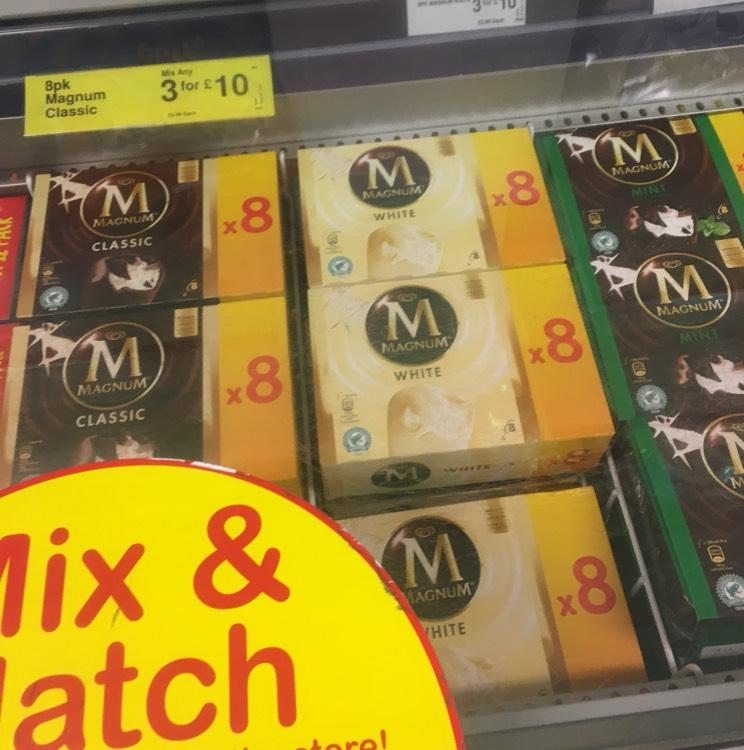 Farm foods magnum ice cream 3 boxes of 8 for £10
