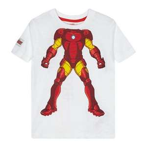 Iron man white childrens T-shirt LOW stock & limited sizes,£3.60 @ debenhams,free del with code