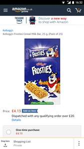 Kellogg's Frosties Cereal Milk Bar (Pack of 25) £4.13 Amazon Add-on item