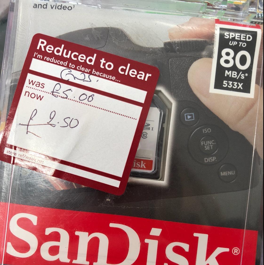 32gb sandisk memory card £2.50 wilkos