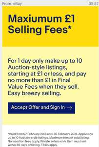 £1 Maximum selling fee Ebay today only (poss selected accounts)