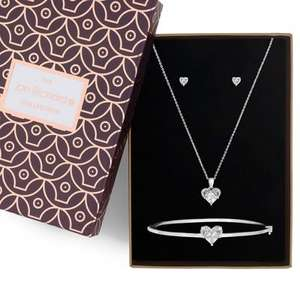 Jon Richard - Silver cubic zirconia three piece heart jewellery set £7.20 - Debenhams