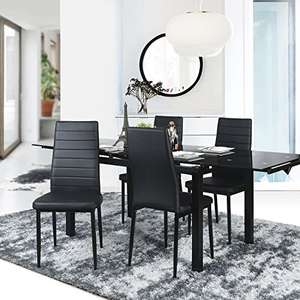 Aingoo Dining Chairs Kitchen Chairs Set of 4 PU Leather Elegant Design High Back Home Kitchen Furniture Black £68.99 Sold by Lingoes.Inc and Fulfilled by Amazon