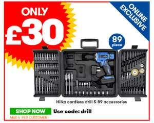 Hilka Li-ion Drill + 89 Piece Acc 18V - £30 with code at JTF (£34.99 delivered)