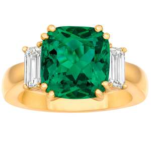 4.70ct Cushion Cut Emerald and 0.86ctw Diamond Ring, 18ct Yellow Gold £97999.99 at Costco