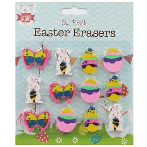 Pack of 12 Easter Erasers £1 / 8 HB Pencils with Themed Eraser Toppers £1 Del w/code @ The Works